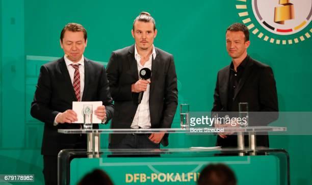 Ralf Koettker DFB media director Alexander Meier of Eintracht Frankfurt and board member Fredi Bobic of Eintracht Frankfurt attend the DFB Cup...