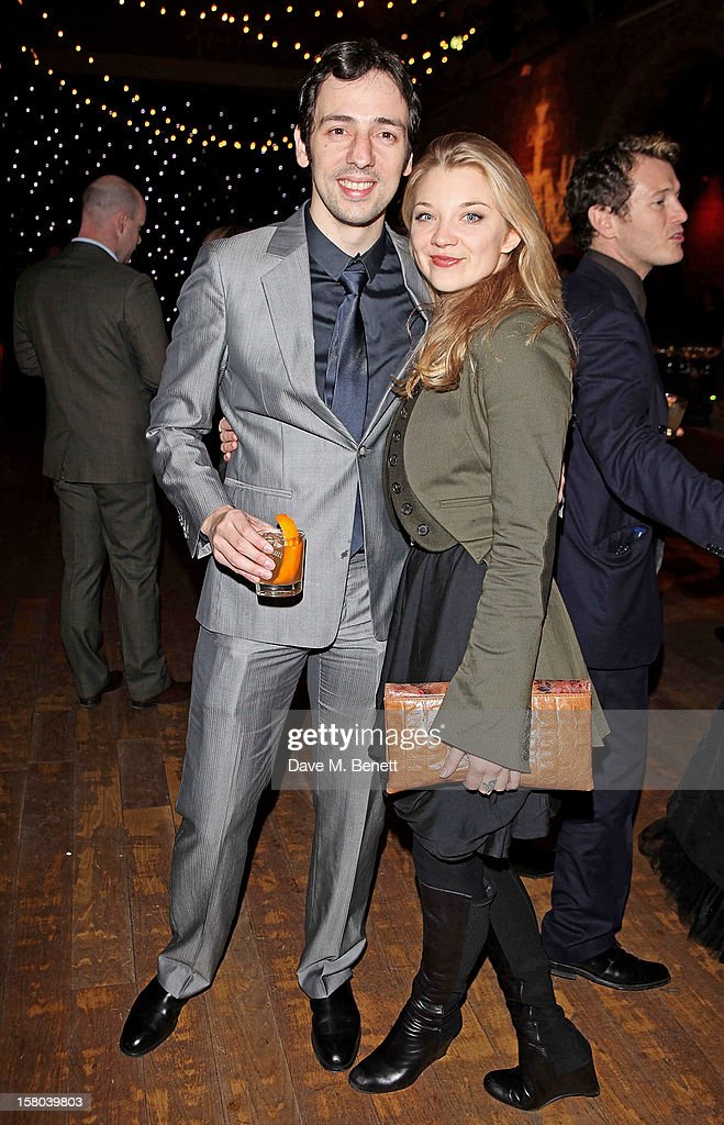 Ralf Little and Natalie Dormer attend an after party celebrating the 24 Hour Musicals Gala Performance at Vinopolis on December 9 2012 in London...
