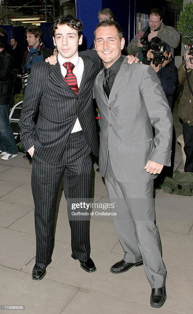 Ralf Little and Will Mellor during TRIC Awards 2005 Arrivals at Grosvenor House Hotel in London Great Britain