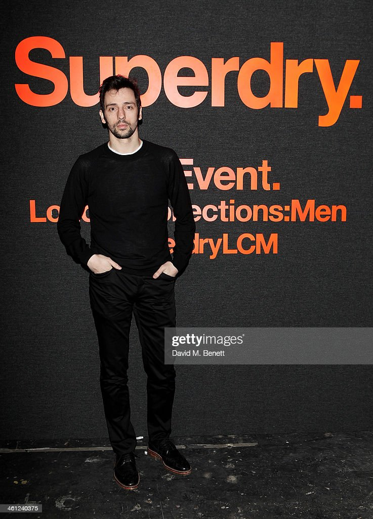 Ralf Little arrives at the Superdry AW14 catwalk event as part of London Collections Men at The Old Sorting Office on January 7 2014 in London England