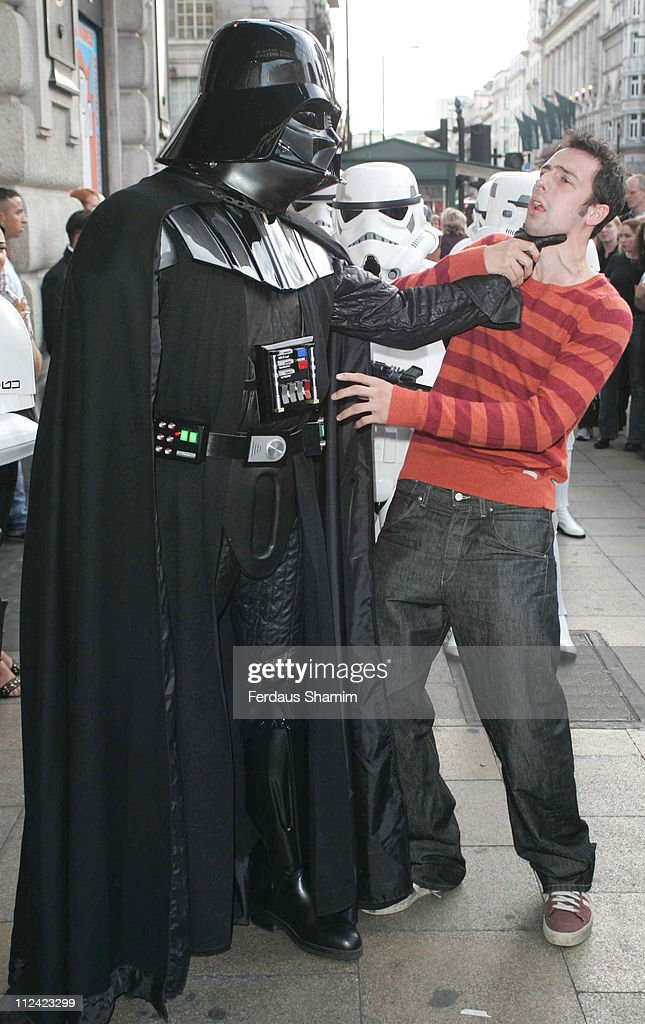 Ralf Little with 'Darth Vader' during 'Star Wars Shortened' UK Gala Performance at Criterion Theatre in London Great Britain