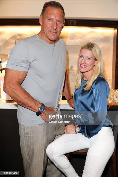 Ralf Moeller and his girlfriend Justine attend the exclusive grand opening event of the new IWC Schaffhausen Boutique in Munich on June 28 2017 in...