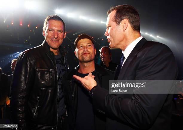 Ralf Moeller Til Schweiger and Henry Maske are seen prior to the WBO Heavyweight World Championship fight between Wladimir Klitschko of Ukraine and...