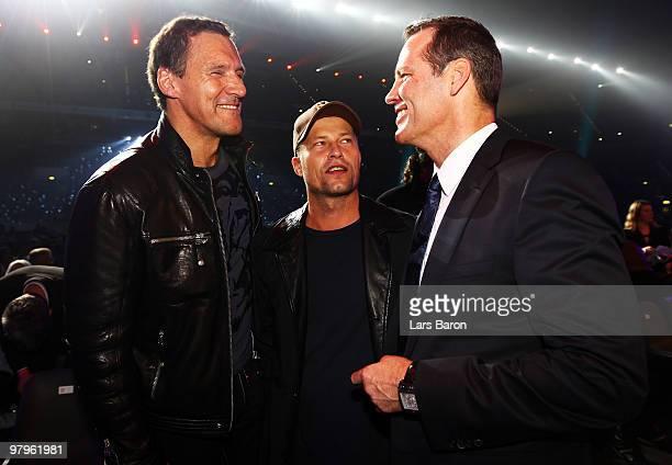 Ralf Moeller Till Schweiger and Henry Maske are seen prior to the WBO Heavyweight World Championship fight between Wladimir Klitschko of Ukraine and...