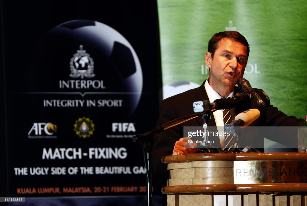 Ralf Mutschke, FIFA Director of Security speaks during an INTERPOL (International Criminal Police Organization) conference at a Hotel on February 20, 2013 in Kuala Lumpur, Malaysia. Law enforcement officials and representatives from football associations gather in Malaysia to discuss 'Match fixing: The Ugly Side of the Beautiful Game'.