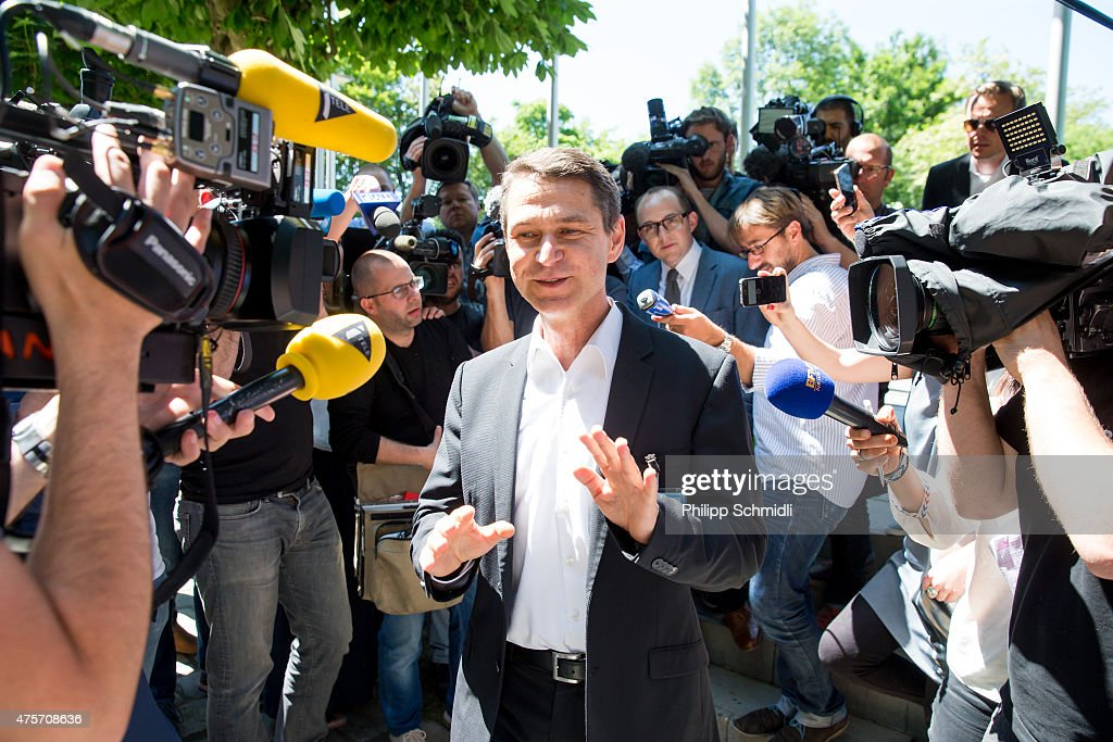 Ralf Mutschke of FIFA speaks to journalists in front of the FIFA headquarters on June 3, 2015 in Zurich, Switzerland. Joseph S. Blatter resigned as president of FIFA. The 79-year-old Swiss official, FIFA president for 17 years said a special congress would be called to elect a successor.