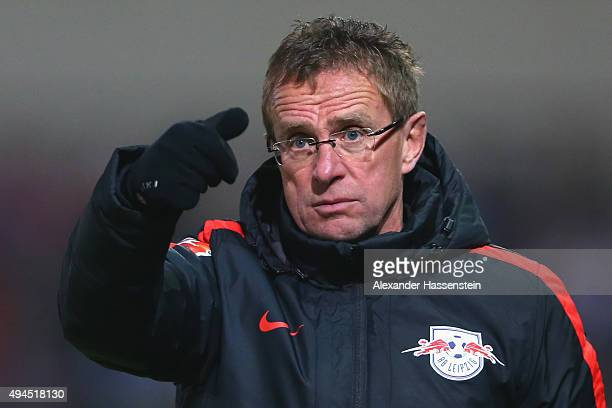 Ralf Rangnick head coach of Leipzig reacts during the DFB Cup round two match between SpVgg Unterhaching and RB Leipzig at Alpenbauer Sportpark on...