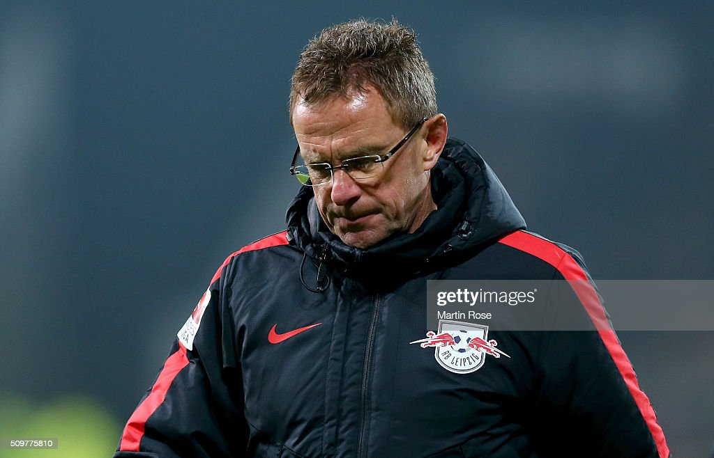 <a gi-track='captionPersonalityLinkClicked' href=/galleries/search?phrase=Ralf+Rangnick&family=editorial&specificpeople=215296 ng-click='$event.stopPropagation()'>Ralf Rangnick</a>, head coach of Leipzig reacts during the second Bundesliga match between FC St. Pauli and RB Leipzig at Millerntor Stadium on February 12, 2016 in Hamburg, Germany.