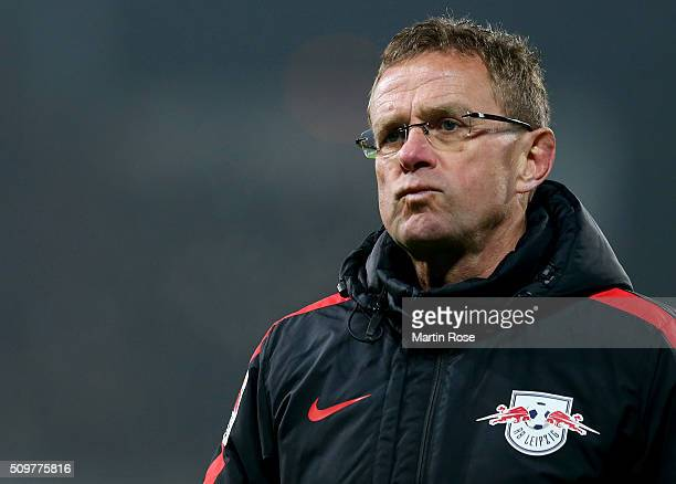 Ralf Rangnick head coach of Leipzig reacts during the second Bundesliga match between FC St Pauli and RB Leipzig at Millerntor Stadium on February 12...