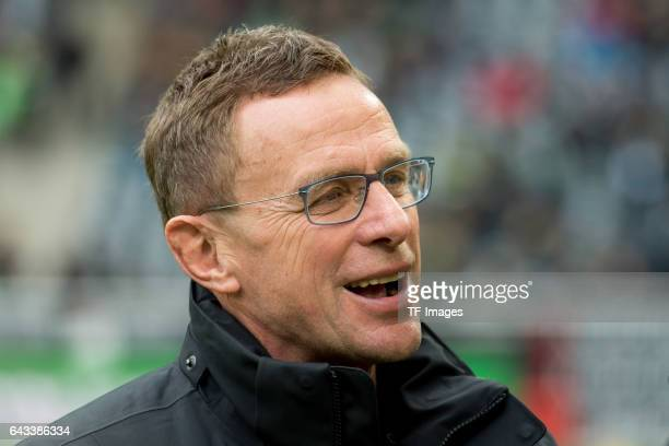 Ralf Rangnick of Leipzig laughs during the Bundesliga match between Borussia Moenchengladbach and RB Leipzig at BorussiaPark on February 19 2017 in...