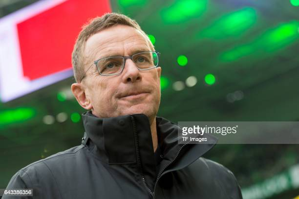 Ralf Rangnick of Leipzig looks on during the Bundesliga match between Borussia Moenchengladbach and RB Leipzig at BorussiaPark on February 19 2017 in...