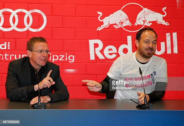 Ralf Rangnick sporting directorof Leipzig and head coach Alexander Zorniger attend the press conference after the third league match between RB...