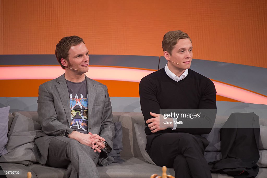 Ralf Schmitz and Matthias Schweighoefer attend the 'Wetten dass..?' show on January 19, 2013 in Offenburg, Germany.