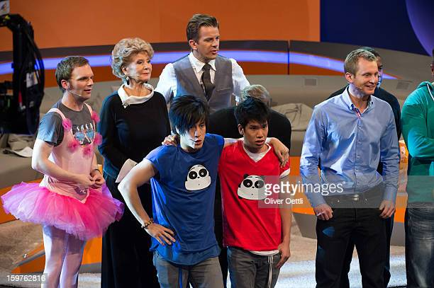 Ralf Schmitz Christiane Hoerbiger and Markus Lanz attend the 'Wetten dass' show on January 19 2013 in Offenburg Germany