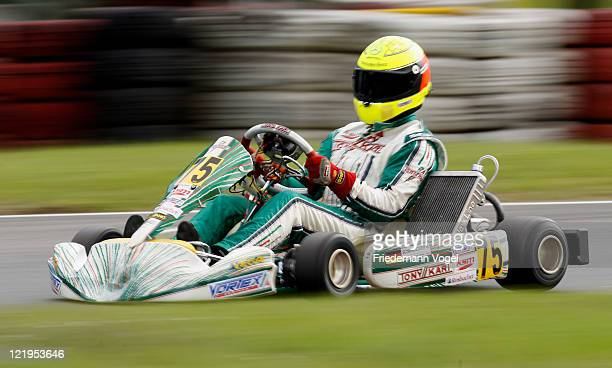 Ralf Schumacher drives Kart during the 50th birthday of the Kart Club Kerpen on August 24 2011 in Kerpen Germany