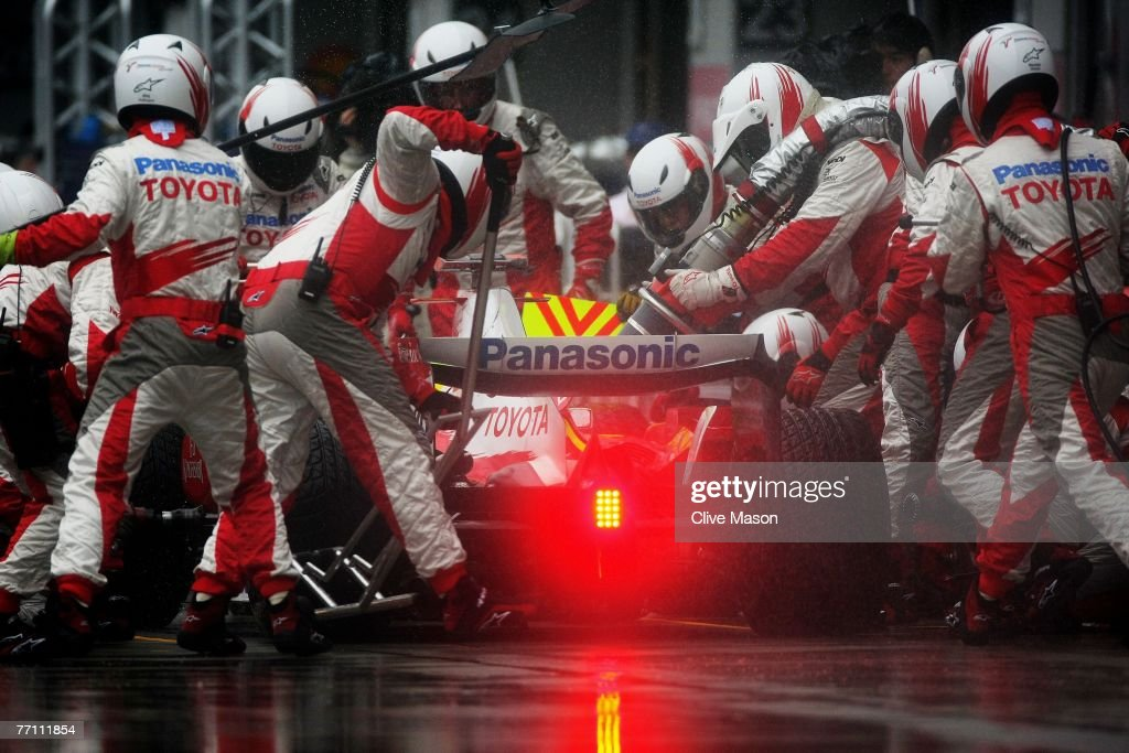 Ralf Schumacher of Germany and Toyota comes in for a pitstop during the Japanese Formula One Grand Prix at the Fuji Speedway on September 30, 2007 in Shizuoka, Japan.
