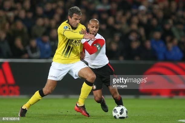 Ralf Seuntjens of VVV Venlo Karim El Ahmadi of Feyenoord during the Dutch Eredivisie match between Feyenoord Rotterdam and VVV Venlo at the Kuip on...