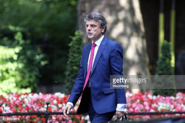 Ralf Speth chief executive officer of Jaguar Land Rover Plc a unit of Tata Motors Ltd arrives in Downing Street for a business advisory group meeting...