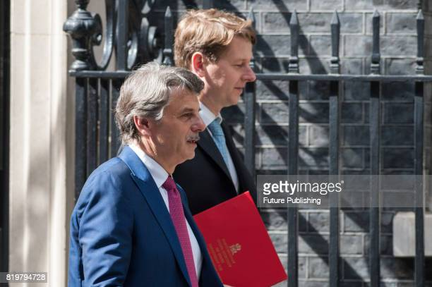 Ralf Speth chief executive officer of Jaguar Land Rover Plc leaves 10 Downing Street after the first in a series of meetings between British Prime...