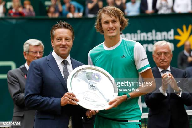 Ralf Weber and tennis player Alexander Zverev attend the Gerry Weber Open 2017 at Gerry Weber Stadium on June 25 2017 in Halle Germany