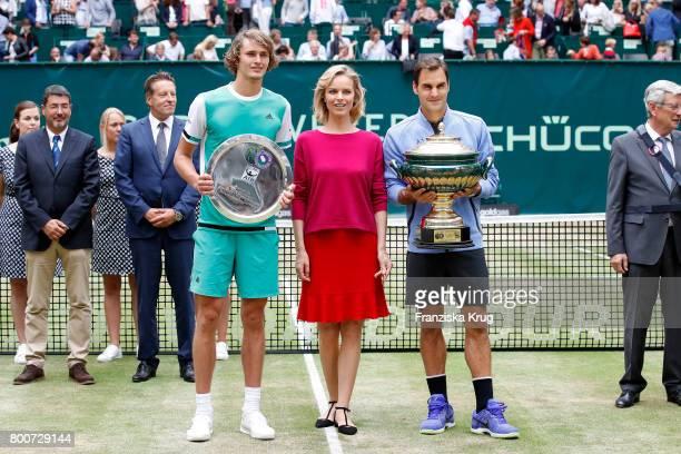 Ralf Weber tennis player Alexander Zverev Model Eva Herzigova and tennis player and winner Roger Federer attend the Gerry Weber Open 2017 at Gerry...