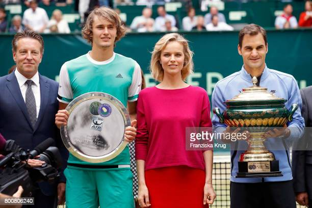 CEO Ralf Weber tennis player Alexander Zverev model Eva Herzigova and tennis player Roger Federer attend the Gerry Weber Open 2017 at Gerry Weber...