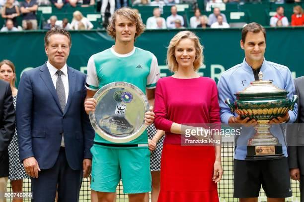 Ralf Weber tennis player Alexander Zverev topmodel Eva Herzigova and tennis player and winner Roger Federer attend the Gerry Weber Open 2017 at Gerry...