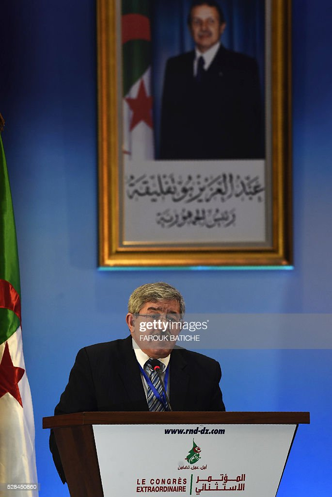 Rally for National Democracy (RND)'s interim secretary general, Ahmed Ouyahia, delivers a speech during an extraordinary meeting of the party on May 5, 2016, in the Algerian capital Algiers. / AFP / Farouk Batiche