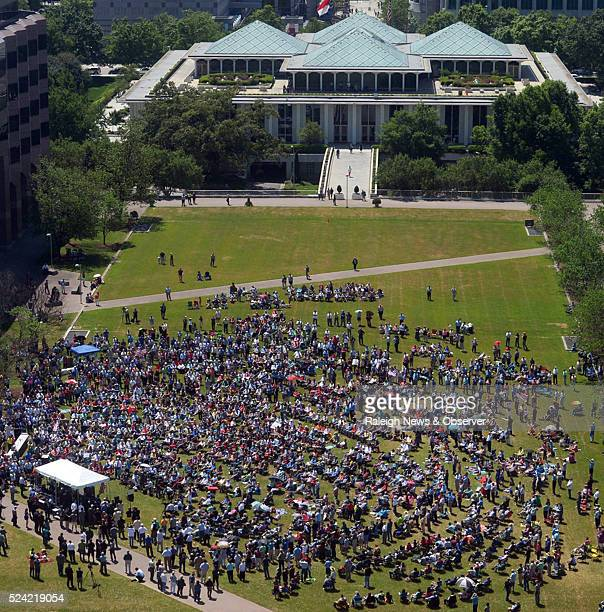 A rally in support of HB2 draws a crowd on Halifax Mall behind the North Carolina General Assembly building in Raleigh NC on Monday April 25 2016