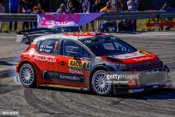 Rally leader Kris Meeke and codriver Paul Nagle of Citroën World Rally Team round the famous Riudecanyes roundabouts of the Rally de Espana round of...