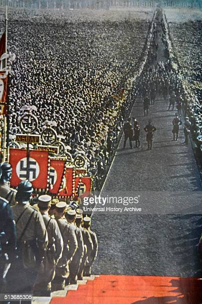 A rally of nazi party members at Nuremburg Germany