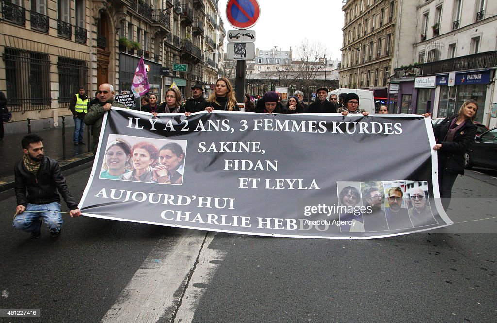 A rally organized in Paris, france on January 9,2015 to commemorate <a gi-track='captionPersonalityLinkClicked' href=/galleries/search?phrase=Sakine+Cansiz&family=editorial&specificpeople=10112049 ng-click='$event.stopPropagation()'>Sakine Cansiz</a>, Leyla Soylemez and Fidan Dogan who were shot dead in Paris on January 9, 2013.