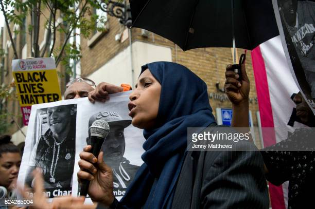 Rally outside Stoke Newington police station Hackney where 20 year old Rashan Charles died in custody on 22nd July 2017 Speaker Islington councillor...