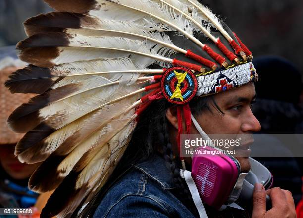 Rally participant Red Wolf still has his protective mask that he wore when he was teargassed during the recent Standing Rock protests in North Dakota...