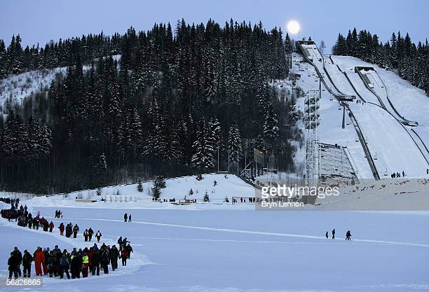 Rally spectators leave the final stage which finished in the 1994 Winter Olympics Ski Jump Stadium after the Rally of Norway February 11 2006 in...