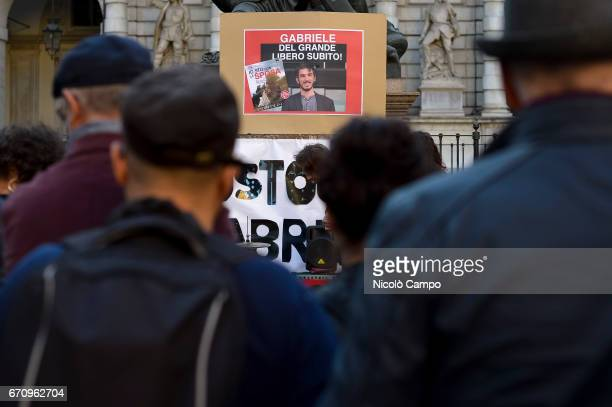 A rally to demand the release of the Italian journalist blogger writer and human rights activist Gabriele Del Grande that was arrested in the Hatay...