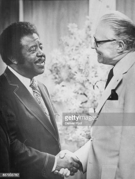 Ralph Abernathy Welcomed above To Denver Mayor bill McNichols greets visitor who spoke right at the annual banquet of Kappa Alpha Phi Fraternity...