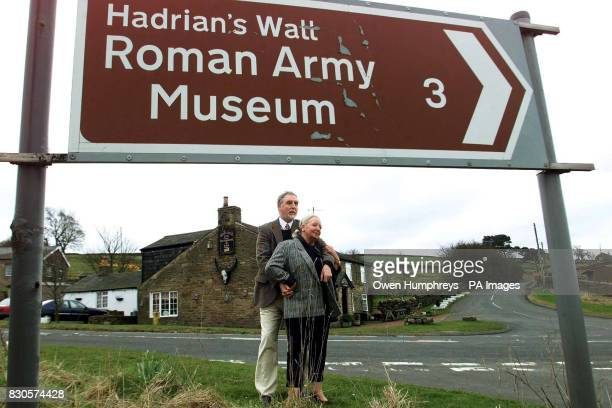 Ralph and Margaret Payne both 57 outside their pub the Milecastle Inn near Hadrians Wall in Northumberland which they have run for 14 years The...