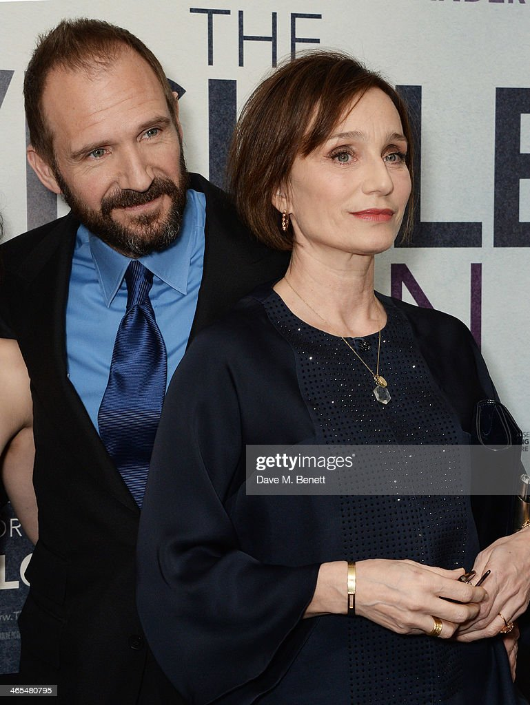 Ralph Fiennes (L) and Kristin Scott Thomas attend the UK Premiere of 'The Invisible Woman' at the ODEON Kensington on January 27, 2014 in London, England.