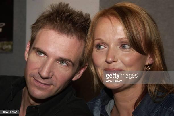 Ralph Fiennes and Miranda Richardson during 2002 Toronto Film Festival 'Spider' Press Conference Toronto Canada