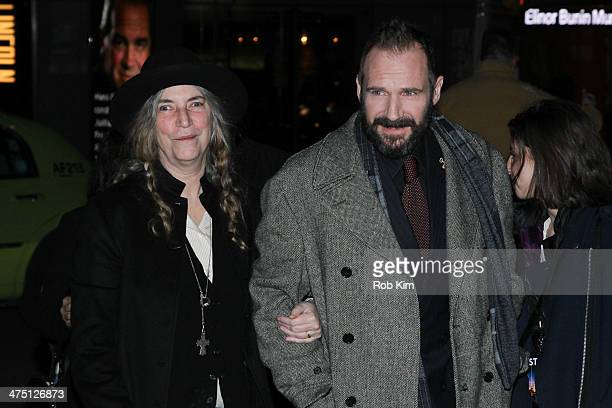 Ralph Fiennes and Patti Smith arrive for 'The Grand Budapest Hotel' New York Premiere at Alice Tully Hall on February 26 2014 in New York City
