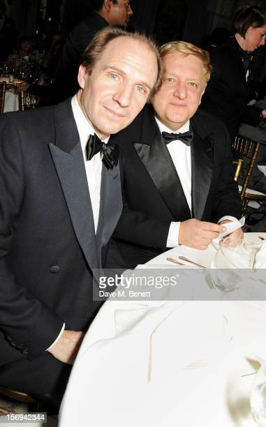 Ralph Fiennes and Simon Russell Beale attend a drinks reception at the 58th London Evening Standard Theatre Awards in association with Burberry at...