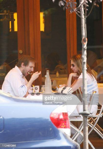 Ralph Fiennes dining with friend during Ralph Fiennes Sighting in New York May 30 2006 at DaSilvano Restaurant in New York City United States