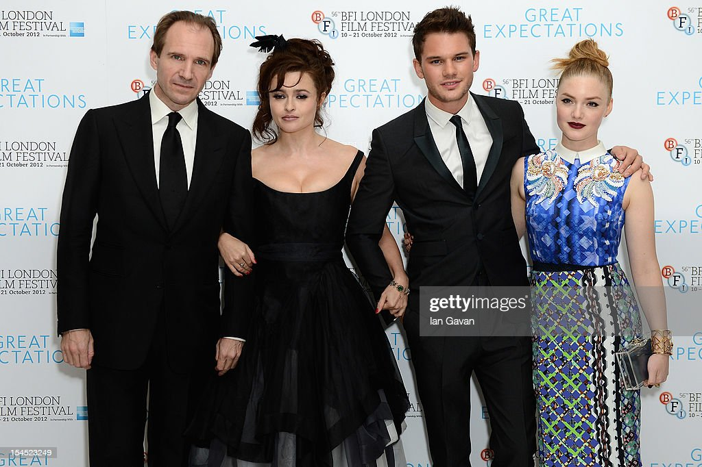 Ralph Fiennes, Helena Bonham Carter, Jeremy Irvine and Holliday Grainger pose at the Closing Night Gala of 'Great Expectations' during the 56th BFI London Film Festival at Odeon Leicester Square on October 21, 2012 in London, England.
