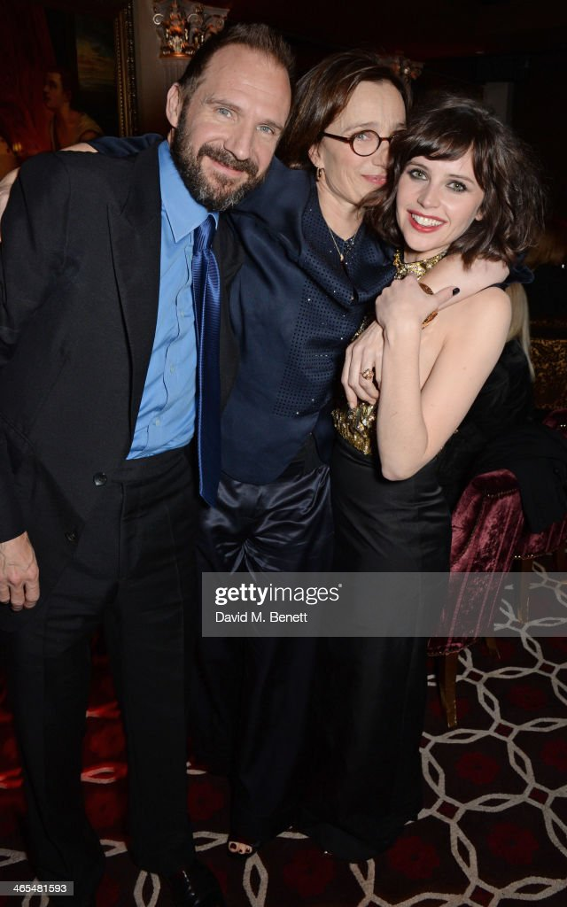 Ralph Fiennes Kristin Scott Thomas and Felicity Jones attend an after party celebrating the UK Premiere of 'The Invisible Woman' at No 41 Mayfair on...