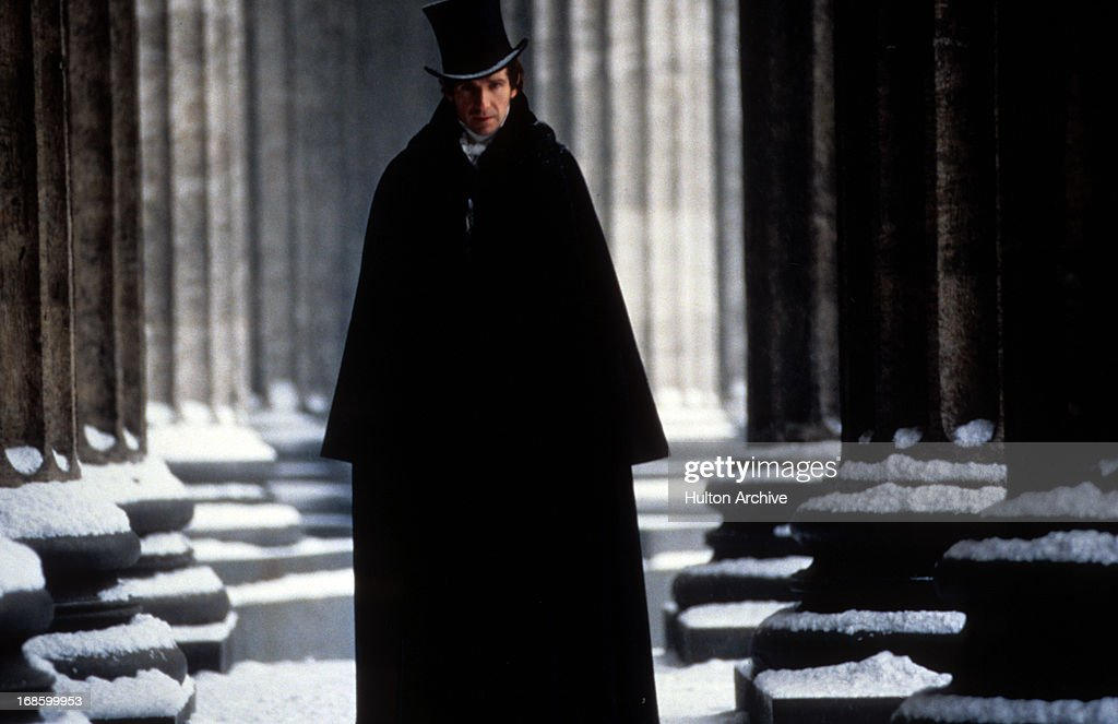 Ralph Fiennes outside in the cold in a scene from the film 'Onegin' 1999