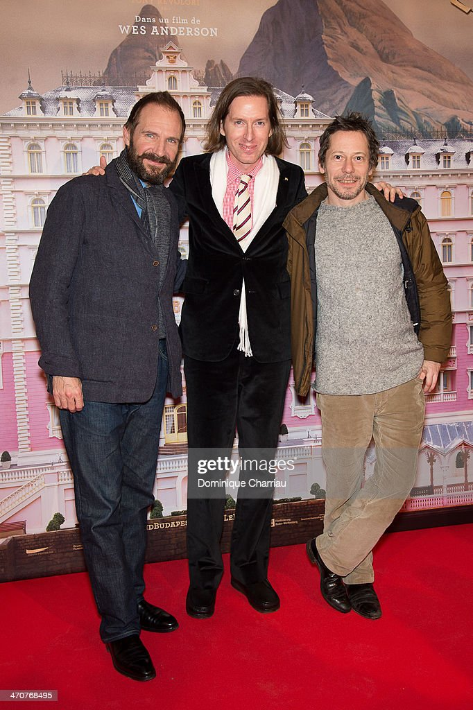 Ralph Fiennes Wes Anderson Mathieu Amalric attend the 'The Grand Budapest Hotel' Paris Premiere at Cinema Gaumont Opera on February 20 2014 in Paris...