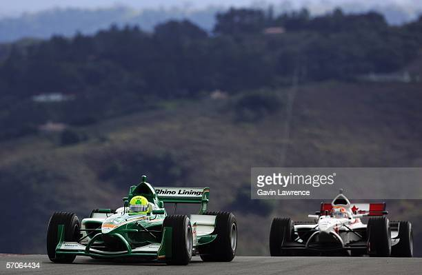 Ralph Firman driver for Ireland leads Patrick Carpentier for Canada during the A1 Grand Prix of Nations California USA at the Mazda Raceway Laguna...