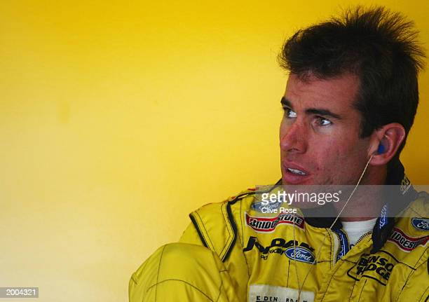 Ralph Firman of Ireland and Jordan sits in the pits during the first qualifying session for the Austrian Grand Prix on May 16 2003 at the A1 Ring in...
