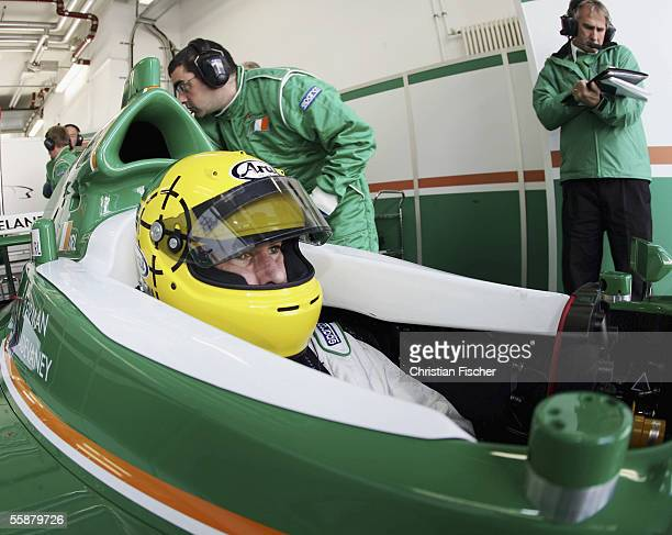 Ralph Firman of Team Ireland sitts in his car at the third practice session during the A1 Grand Prix of Nations Germany at the Eurospeedway on...